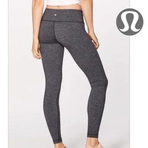 Lululemon Wunder Under Grey Pattern Leggings Sz 6